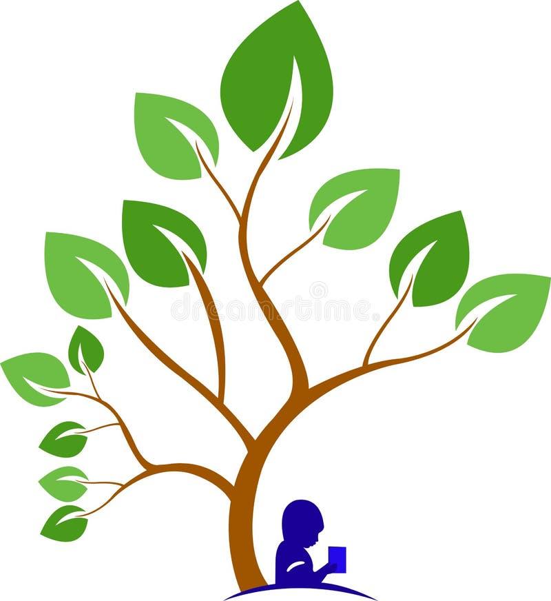 Libro bajo un árbol ilustración del vector