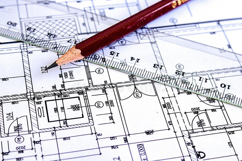 Libro Bianco del dettaglio di architettura del disegno di costruzione con le dimensioni e le linee immagini stock libere da diritti