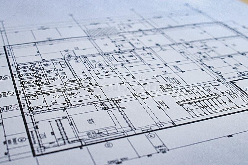 Libro Bianco del dettaglio di architettura del disegno di costruzione con le dimensioni e le linee fotografie stock
