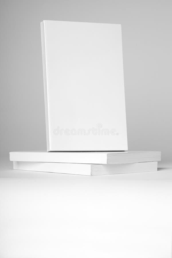 Libro bianco del libro in brossura reale sopra una pila di libri su un fondo grigio fotografia stock