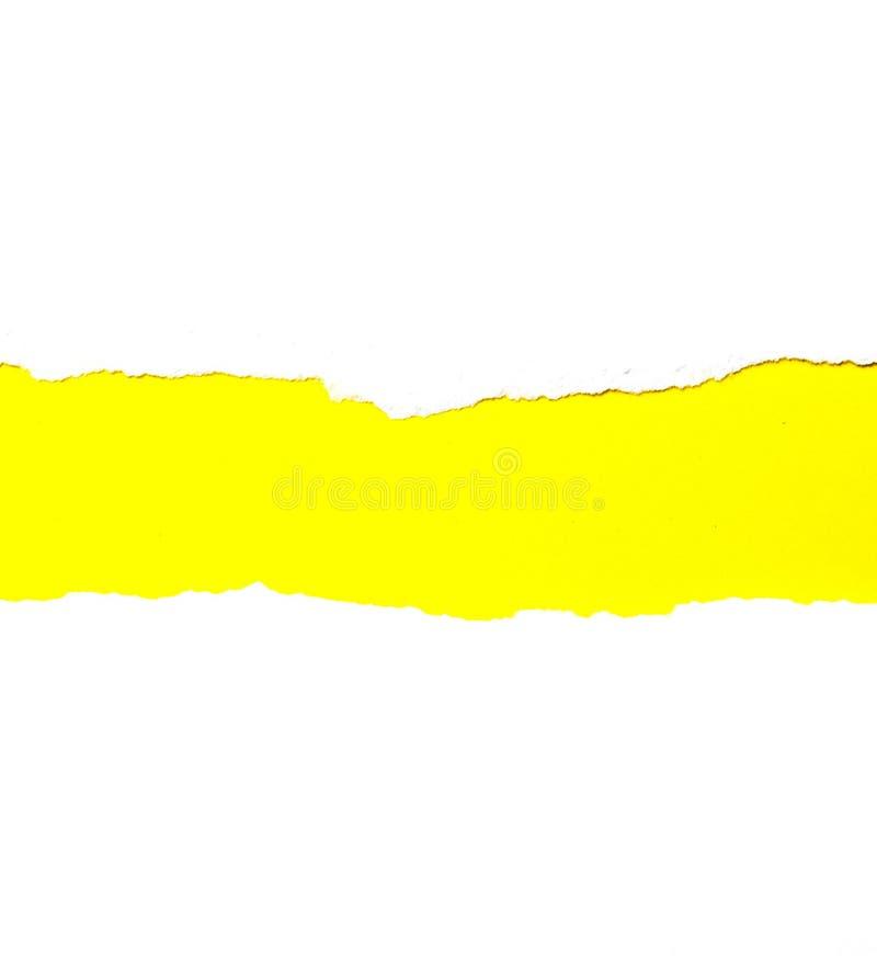 Libro Bianco lacerato del fondo dell'estratto su giallo immagini stock
