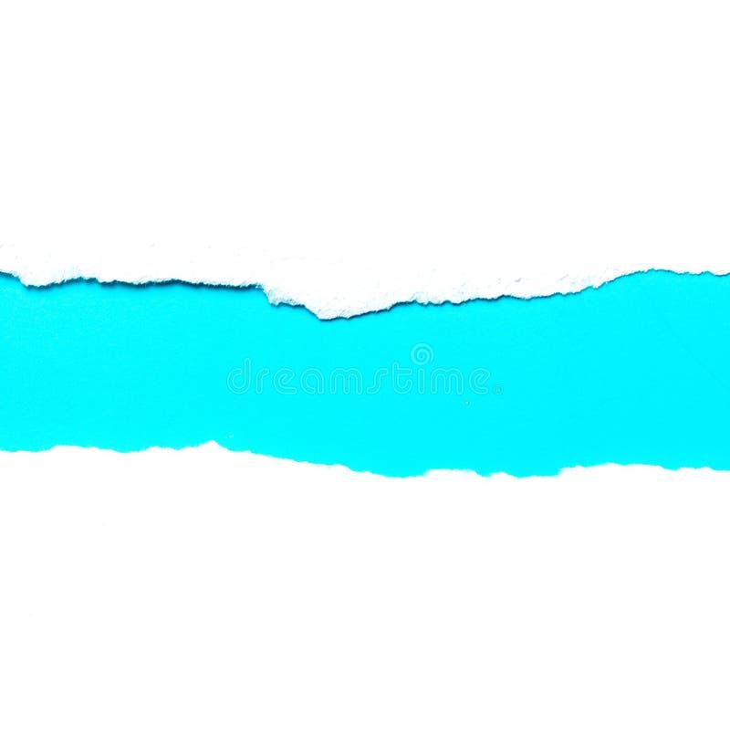 Libro Bianco lacerato del fondo dell'estratto sul blu immagine stock