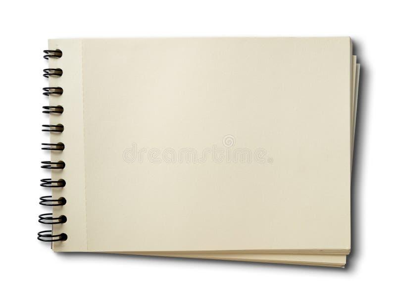 Libro in bianco orizzontale di abbozzo su bianco immagini stock libere da diritti