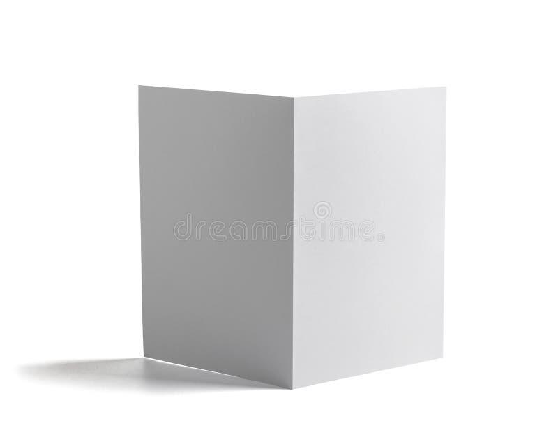 Libro bianco piegato del modello della carta in bianco dell'opuscolo immagine stock