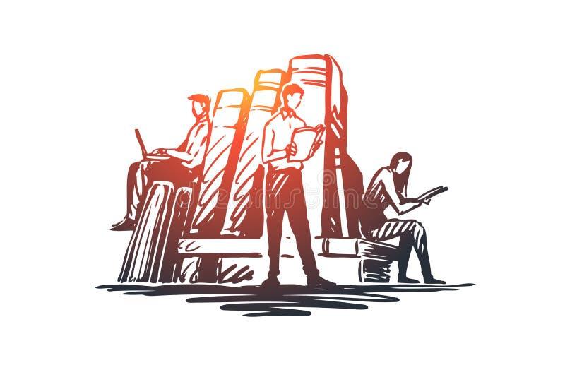 Libro, biblioteca, educación, literatura, concepto del conocimiento Vector aislado dibujado mano ilustración del vector