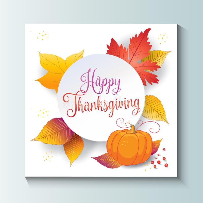 Libro Blanco feliz de las hojas de otoño de la acción de gracias ilustración del vector