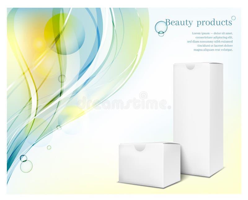 Libro Blanco que empaqueta en fondo azul de las ondas Caja cuadrada para los cosméticos y la perfumería stock de ilustración
