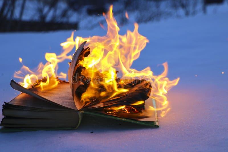 Libro bruciante in neve pagine con il testo nell'ustione del libro aperto con la fiamma luminosa fotografia stock libera da diritti
