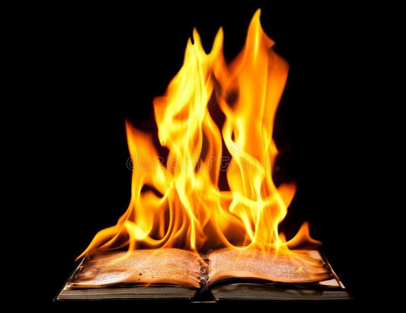 Libro Burning sulle fiamme del fuoco fotografia stock libera da diritti