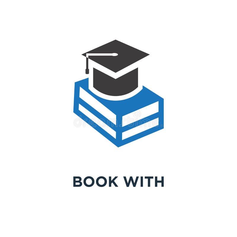 libro con el icono del casquillo de la graduación educación, universidad académica ha libre illustration