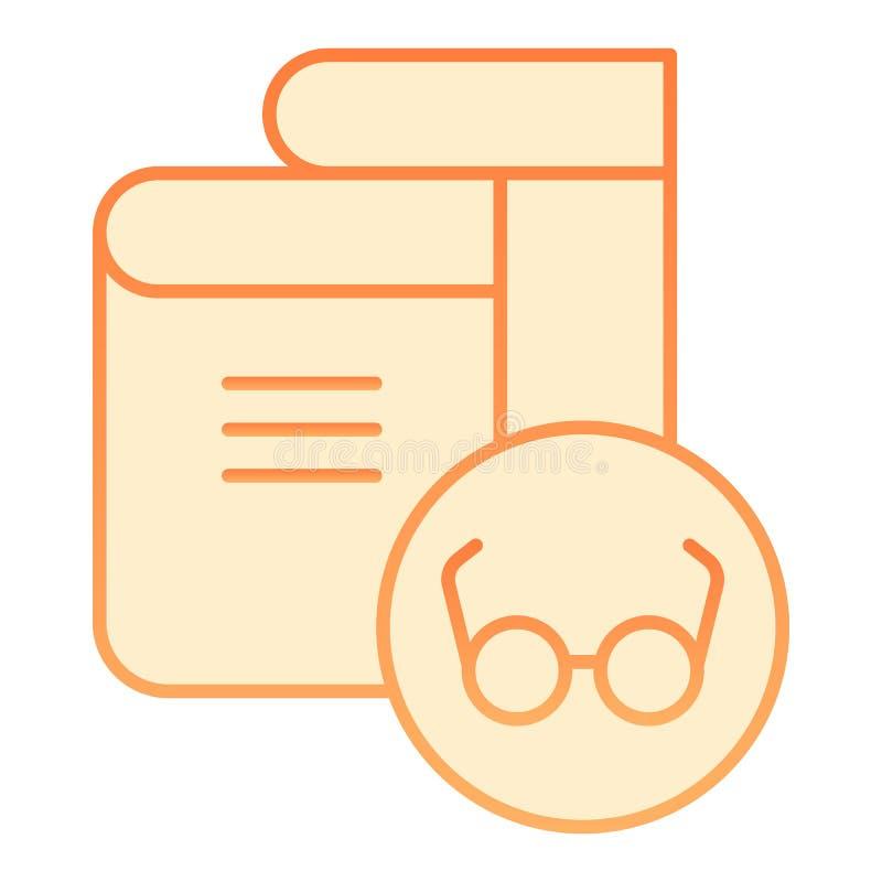 Libro con el icono plano de las lentes Iconos anaranjados del libro y de los vidrios en estilo plano de moda Diseño leído del est ilustración del vector