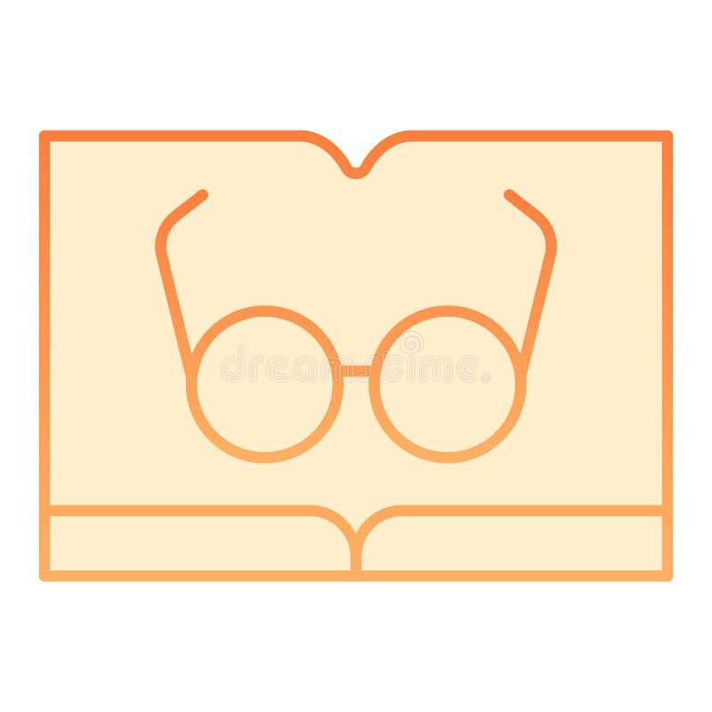 Libro con el icono plano de los vidrios Lectura de iconos anaranjados en estilo plano de moda Diseño del estilo de la pendiente d libre illustration