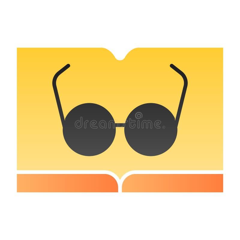 Libro con el icono plano de los vidrios Lectura de iconos del color en estilo plano de moda Diseño del estilo de la pendiente del ilustración del vector