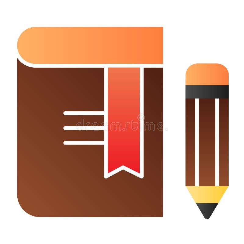 Libro con el icono plano del lápiz Iconos del color de la señal en estilo plano de moda Diseño del estilo de la pendiente del con libre illustration