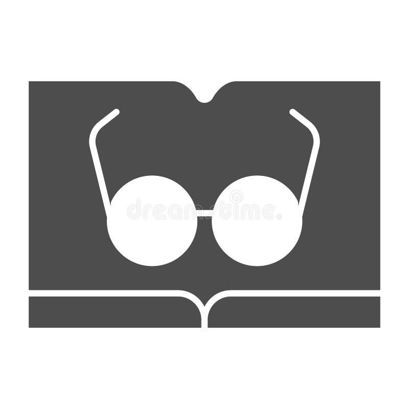 Libro con el icono sólido de los vidrios Leyendo el ejemplo del vector aislado en blanco Diseño del estilo del glyph del conocimi ilustración del vector