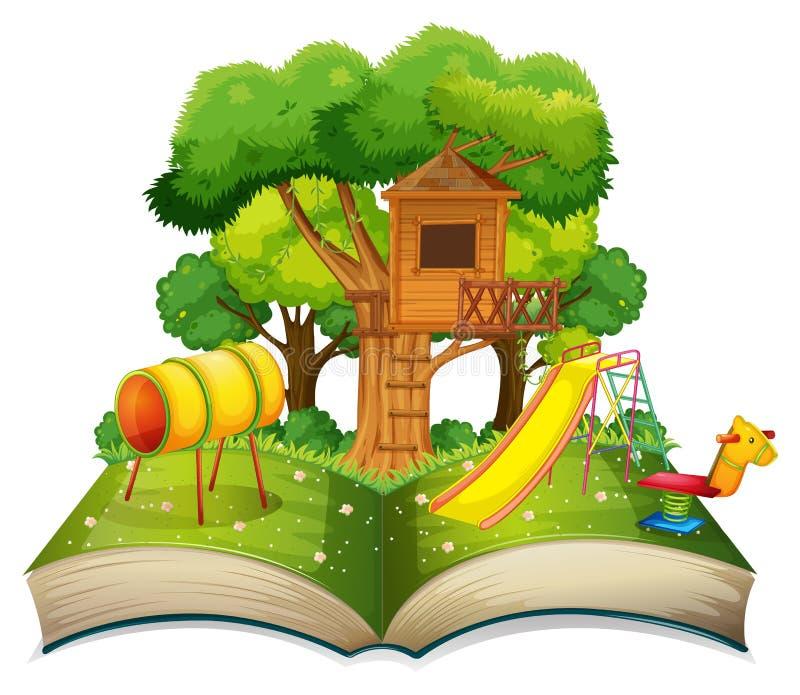 Libro con el patio en el parque stock de ilustración