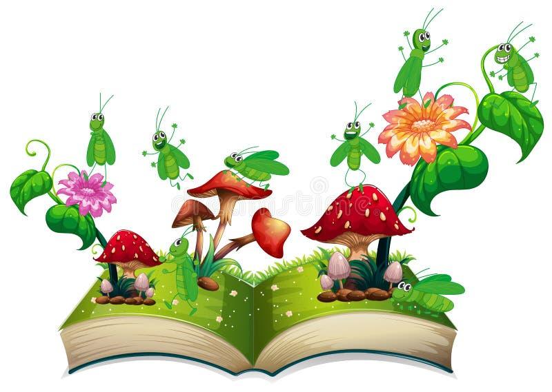 Libro con el saltamontes y la seta stock de ilustración