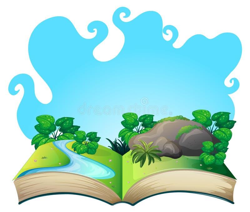 Libro con escena de la naturaleza ilustración del vector