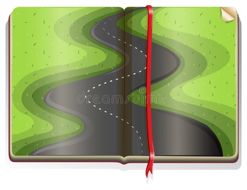 Libro con escena del camino ilustración del vector