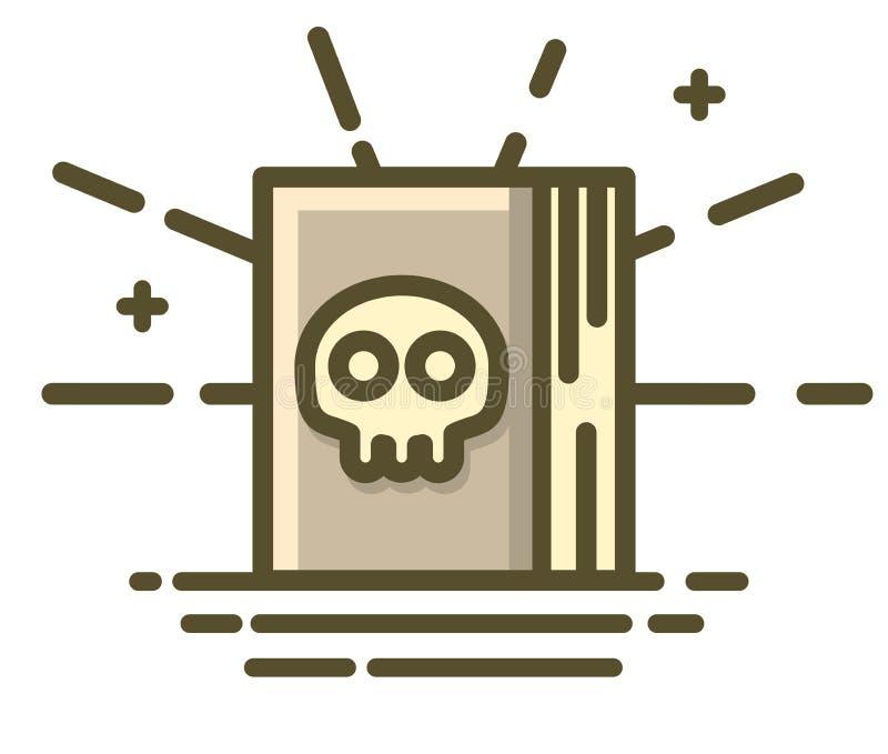 Libro con il cranio terribile sulla copertura Progettazione dell'icona di Halloween illustrazione vettoriale