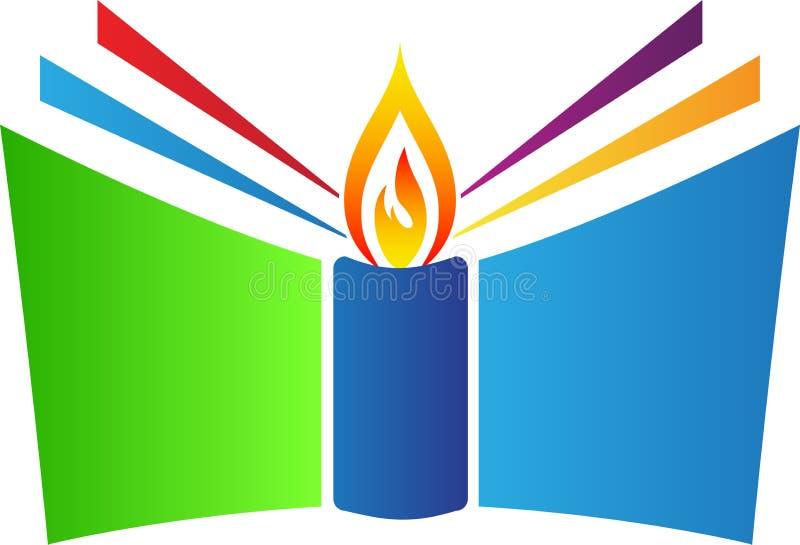 Libro con la candela illustrazione vettoriale