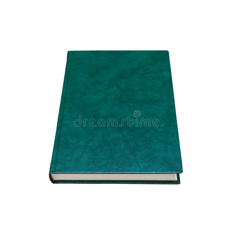 Libro con la cubierta de cuero verde oscuro aislada en blanco imágenes de archivo libres de regalías