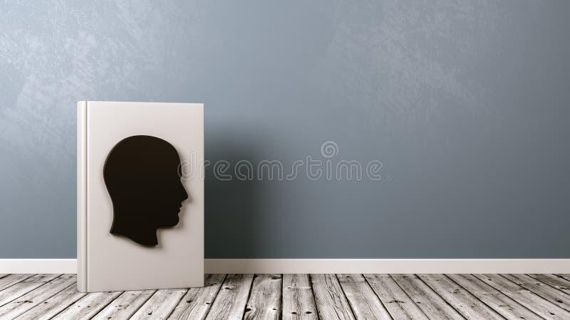 Libro con la forma en piso de madera, concepto de la cabeza humana de la biografía ilustración del vector