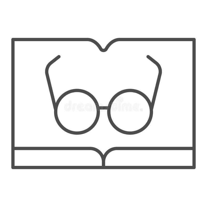 Libro con la línea fina icono de los vidrios Leyendo el ejemplo del vector aislado en blanco Dise?o del estilo del esquema del co ilustración del vector