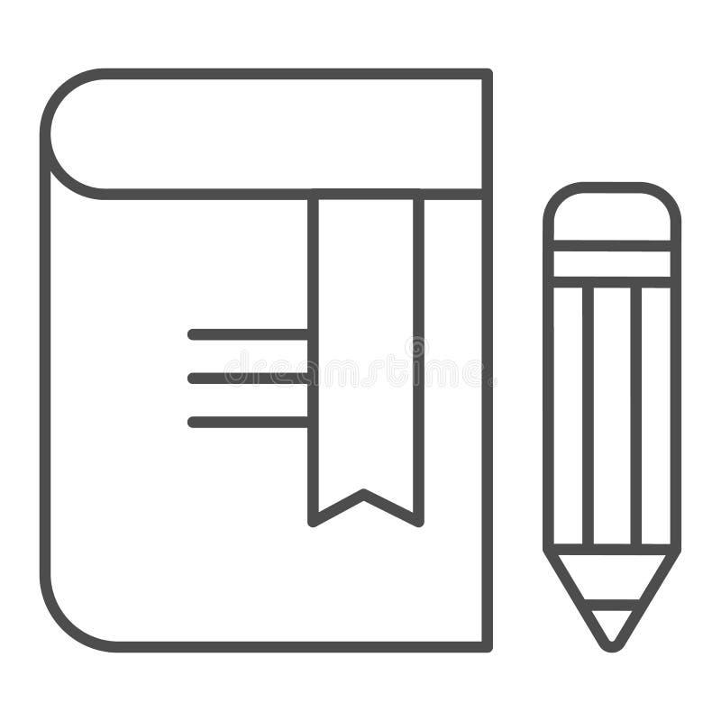 Libro con la línea fina icono del lápiz Ejemplo del vector de la se?al aislado en blanco Dise?o del estilo del esquema del conoci stock de ilustración