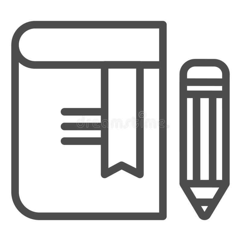 Libro con la línea icono del lápiz Ejemplo del vector de la se?al aislado en blanco Diseño del estilo del esquema del conocimient stock de ilustración