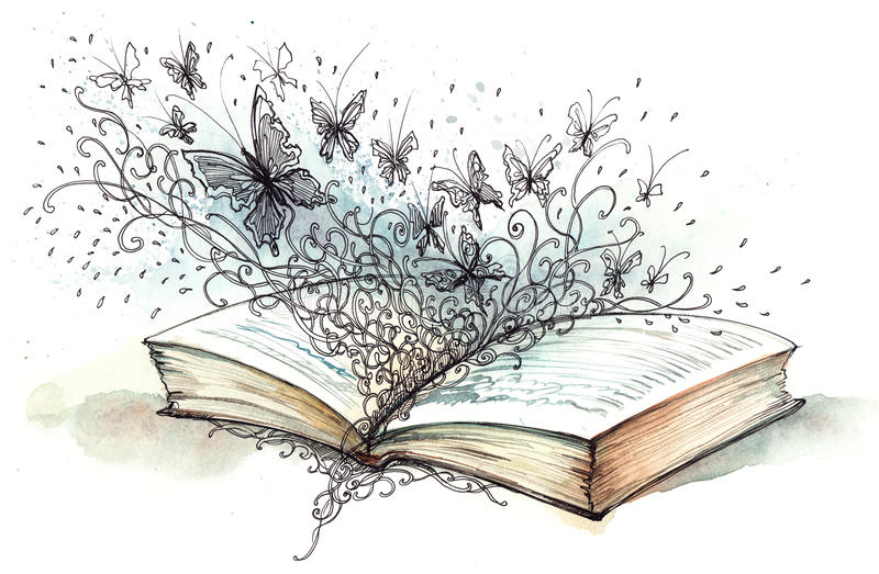 Libro con las mariposas stock de ilustración