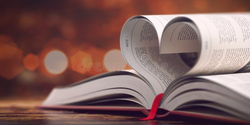 Libro con las páginas abiertas en la forma de corazón Concepto de la lectura, de la religión y del amor foto de archivo