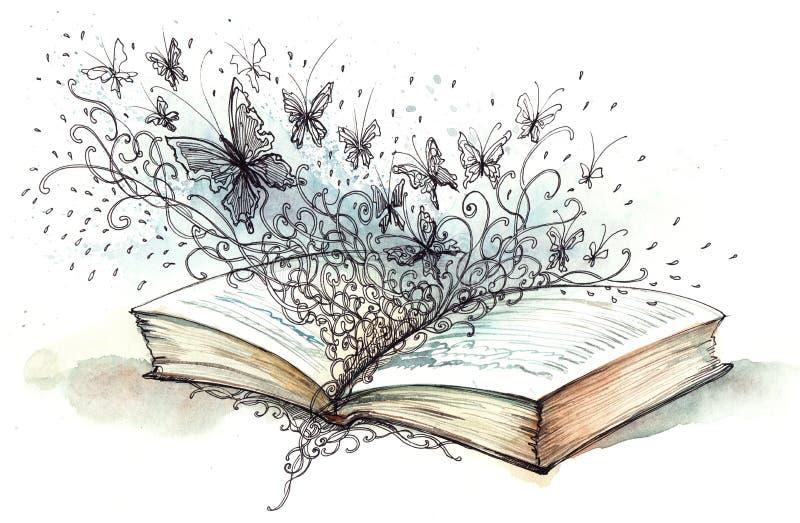 Libro con le farfalle illustrazione di stock