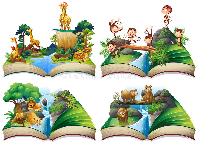 Libro con los animales salvajes en la selva stock de ilustración