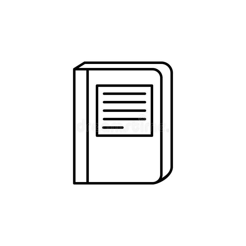 libro con un icono de la inscripción Elemento del conocimiento para los apps móviles del concepto y del web Línea fina icono para libre illustration