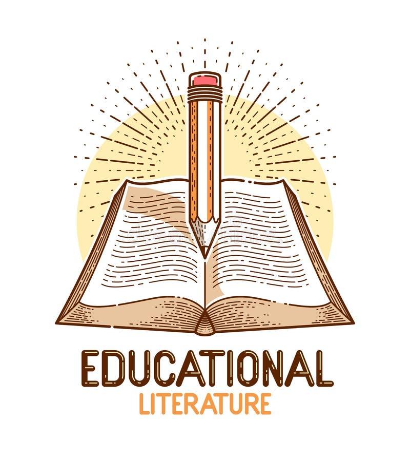 Libro d'annata e logo di vettore della biblioteca di concetto di conoscenza di istruzione o di scienza della matita, della letter royalty illustrazione gratis