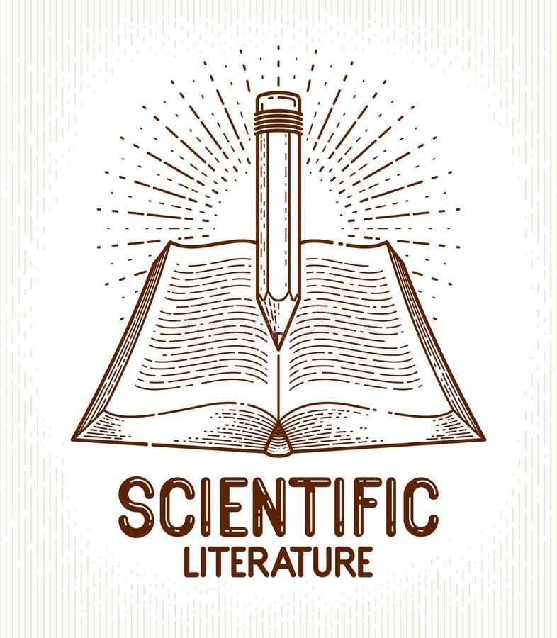 Libro d'annata e logo di vettore della biblioteca di concetto di conoscenza di istruzione o di scienza della matita, della letter illustrazione vettoriale