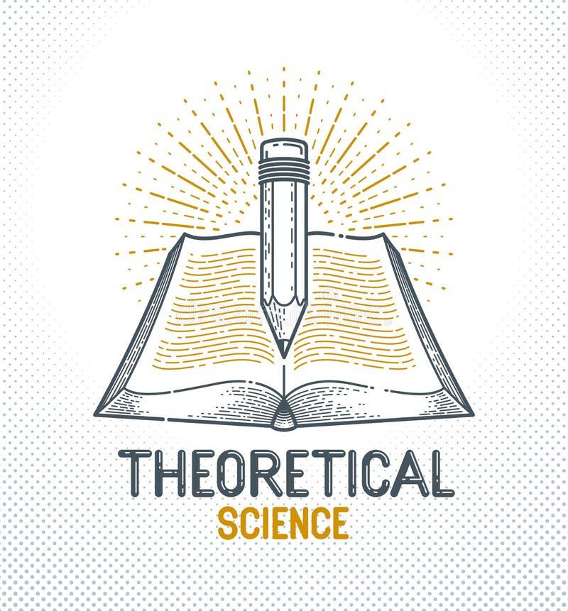 Libro d'annata e vettore della biblioteca di concetto di conoscenza di istruzione o di scienza della matita, della letteratura ed illustrazione di stock