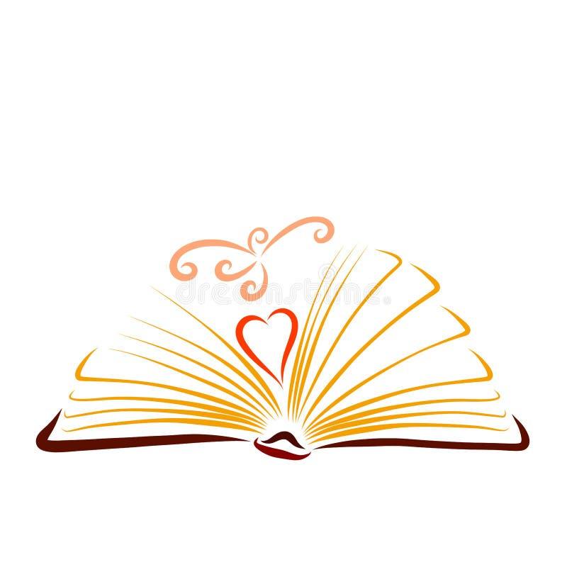 Libro d'apertura con un cuore e un uccello grazioso volante royalty illustrazione gratis