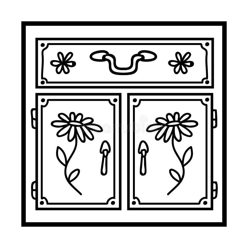 Libro da colorare, armadio da cucina illustrazione vettoriale