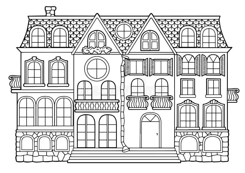Libro da colorare in bianco e nero di vettore per gli adulti Costruzione a più piani in stile country con gli appartamenti, i ba royalty illustrazione gratis