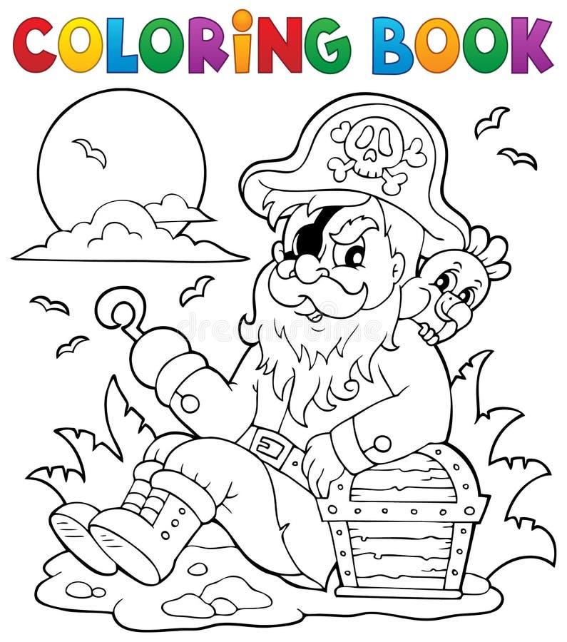 Libro da colorare con il pirata di seduta illustrazione - Libro da colorare uomo ragno libro ...