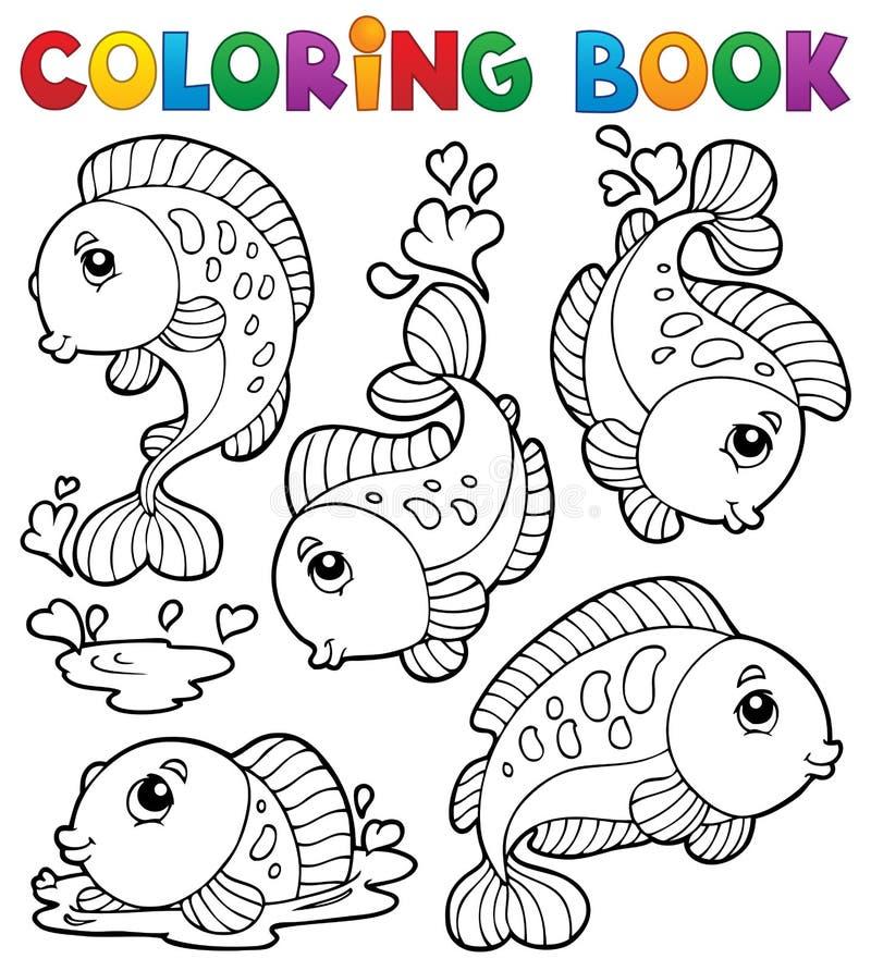 Libro da colorare con il tema 1 dei pesci illustrazione for Immagini da colorare pesci