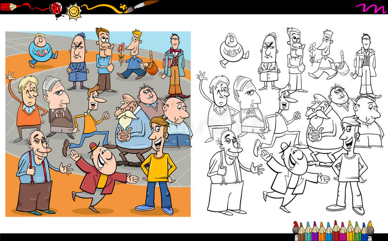 Libro da colorare dei caratteri della gente illustrazione di stock