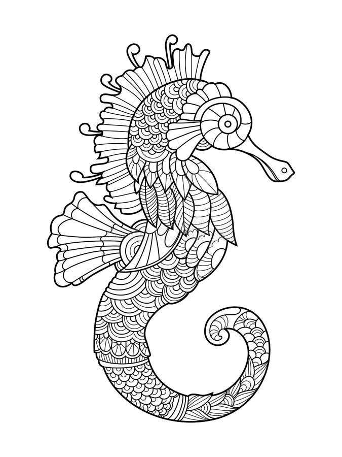 Libro da colorare del cavalluccio marino per gli adulti for Cavalluccio marino disegno
