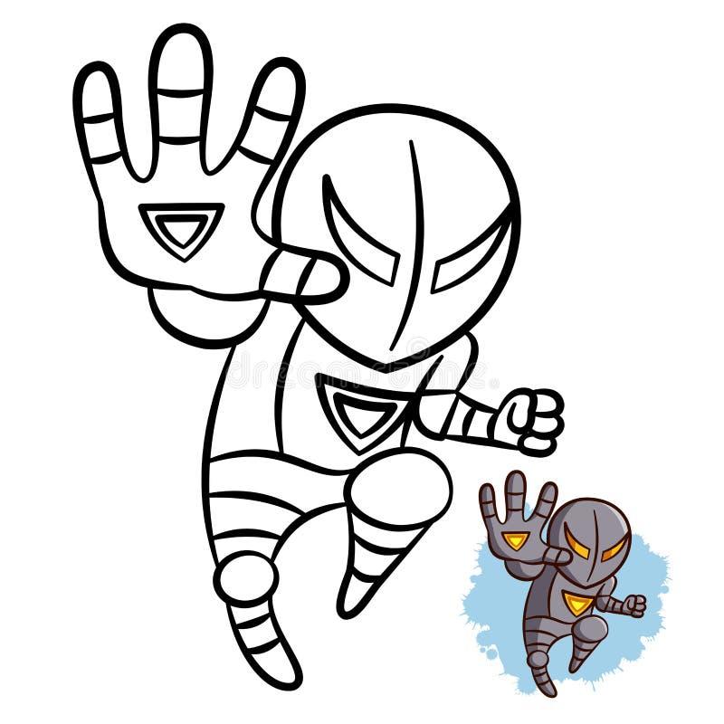 Libro da colorare del ferro del ragazzo del supereroe Carattere comico isolato su fondo bianco royalty illustrazione gratis