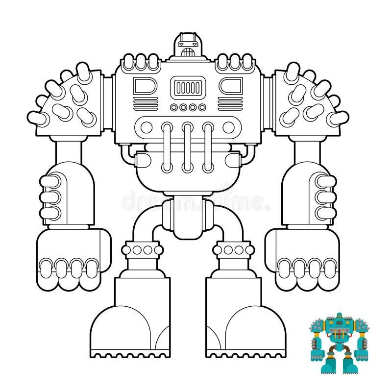 Libro da colorare del robot Futuro del guerriero del cyborg per i bambini Vettore illustrazione di stock