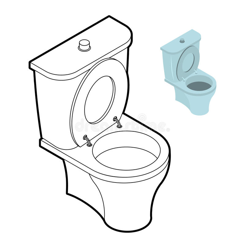 Libro da colorare del wc della toilette accessori del - Toilette da bagno ...