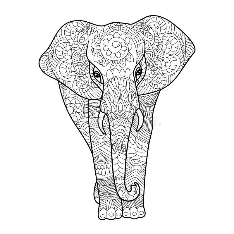 Libro da colorare dell'elefante per il vettore degli adulti illustrazione di stock