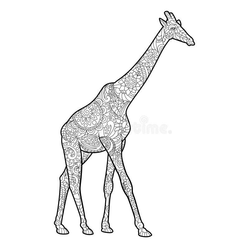 Libro da colorare della giraffa per il vettore degli adulti illustrazione vettoriale